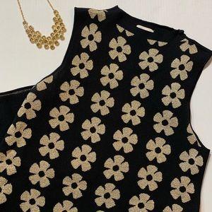 Eci Black Sweater Dress with Gold Thread Flowers L